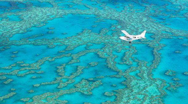 See the amazing hues and shades of blue when you fly over the reef.