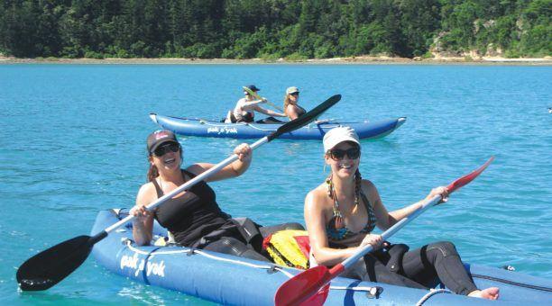 Kayak along crystal clear waters