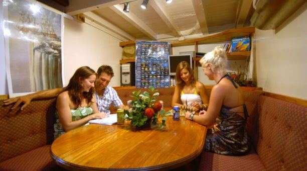 Wind down in the Saloon with boardgames, or learn about the wildlife you spotted while Snorkelling